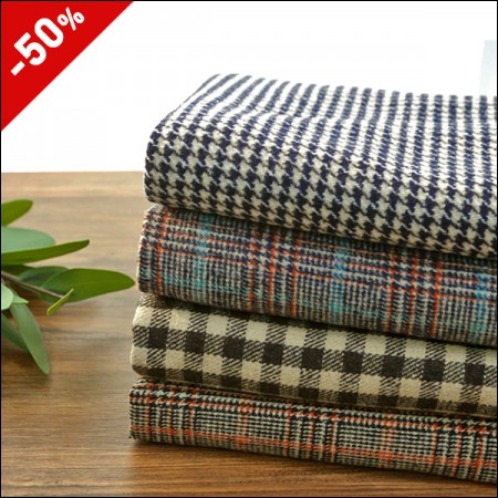 Limited special price wool blend check napping fabric Beige series four