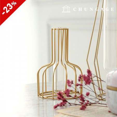 Gold-framed glass vase wine