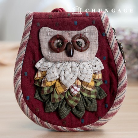Quilted Package DIY Kit Owl Wallet (Wine) [CH-612698]