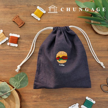 French Embroidery Package DIY Kit Burger Rubber Pouch [CH-560109]