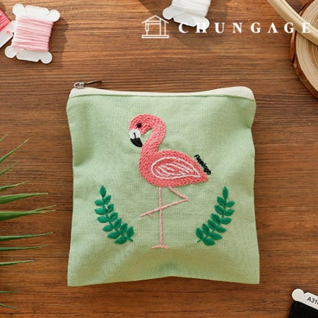 French Embroidery Package DIY Kit Flamingo Pouch [CH-560110]