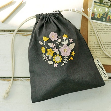 French embroidery package Flower DIY kit primula Pouch CH-560113