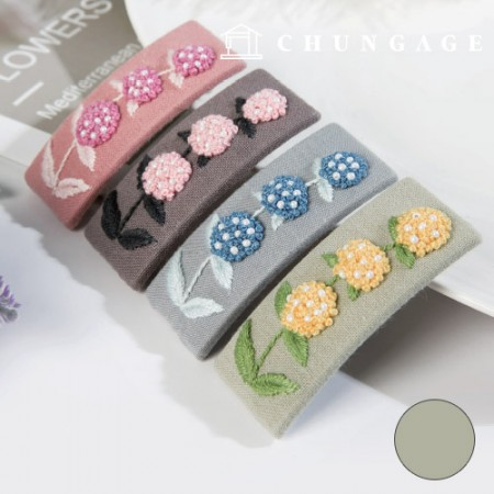 French Embroidery Package Flower DIY Kit Hydrangea Hair Clip Green CH-512522A