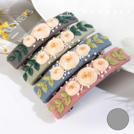 French embroidery package Flower DIY kit rose hairpin Gray CH-512527B