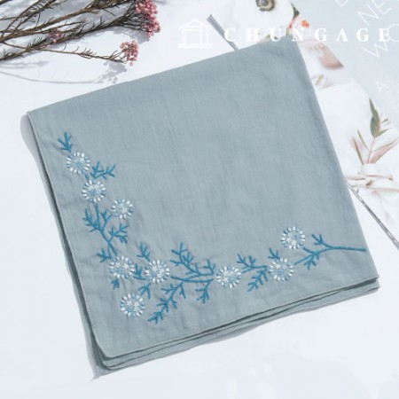 French Embroidery Package Flower DIY Kit Snowflake Flower Handkerchief Blue CH-513501
