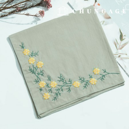 French Embroidery Package Flower DIY Kit Snowflake Flower Handkerchief Green CH-513503