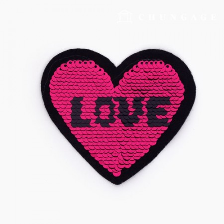 Adhesive Waffle Spangle Love Heart Wine