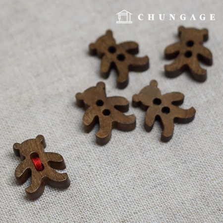 Wood Button Mini Bear 5 Pieces Brown
