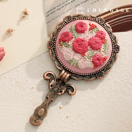 French embroidery package Flower DIY Kit Pink Flower Mirror [CH-512008]