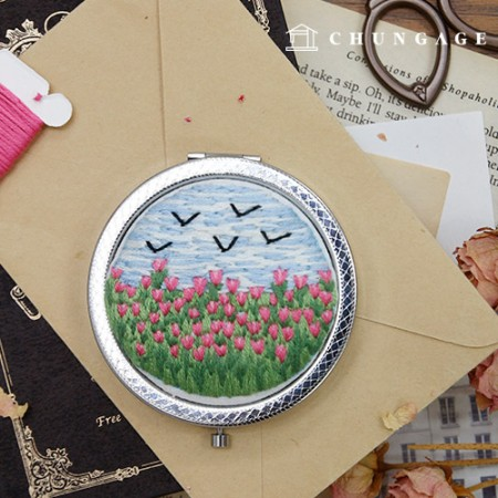 French Embroidery Package Flower DIY Kit Tulip Mirror [CH-512007A]