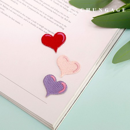 Adhesive Waffle Bubble Heart Embroidery Patch 3 Pieces Pen 093