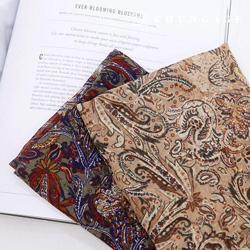 Wide Chiffon Fabric Paisle Fabric Alice Beige