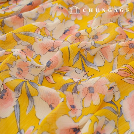 Yorushi Chiffon Fabric Chae Song Hwa Flower Patterns Fabric