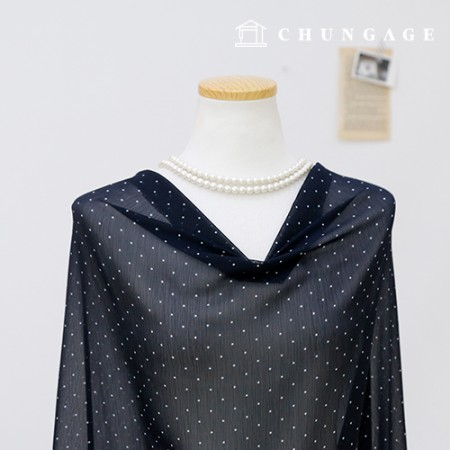 Significant Yoru chiffon Fabric Dot Patterns Fabric Dot Navy