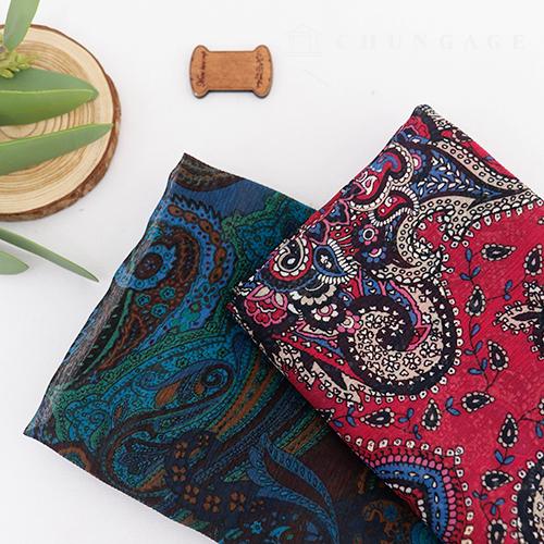 Wide Yorushon Fabric Paisle Patterns Fabric Golden Heel Hot pink