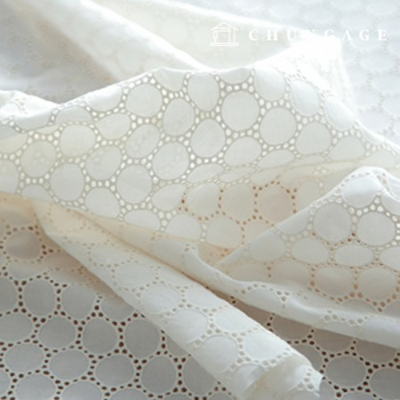 Cotton Race Embroidery Fabric Mini Circle Natural