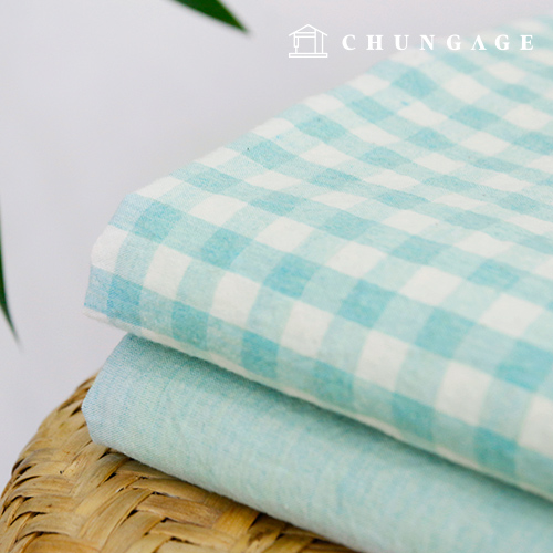 Widely Melan Washing Ombre Cotton Fabric Check Plain Fabric Jade Color 2 Types