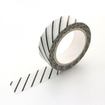 Design Paper Masking Tape Diagonal Stripe BlackTA079
