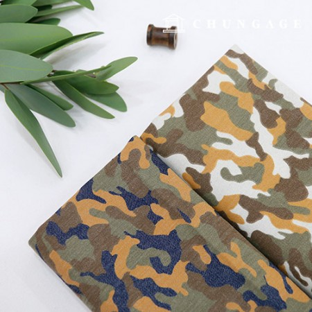 Wide Twenty Twill Denim Fabric Brown Camo 2 Types