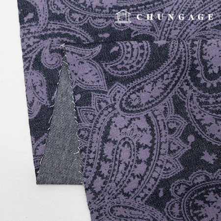 Washing Denim Fabric Purple Paisley