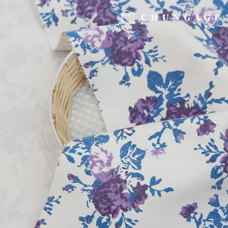 Wide Denim Fabric Cotton Blue Print Vintage Rose