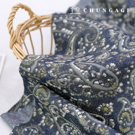 Washing Denim Fabric Gray Paisley