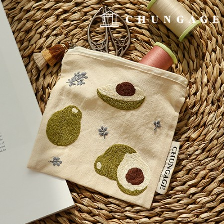 French Embroidery Package DIY Kit Avocado Pouch CH-560116