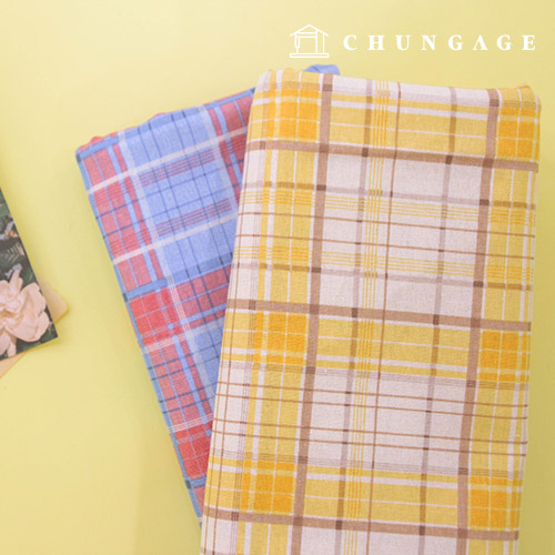Linen Fabric Large Check Fabric Cotton Linen Fabric Cotton Candy Check 2 types