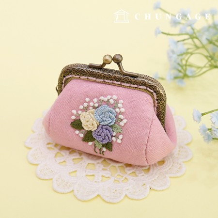 French Embroidery Package Flower DIY Kit Rose Pom Pong Coin Purse Pink CH-511860A