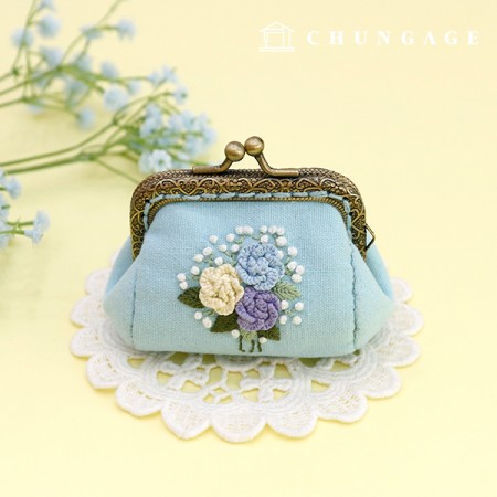 French Embroidery Package Flower DIY Kit Rose Pom Pong Coin Purse Blue CH-511860B