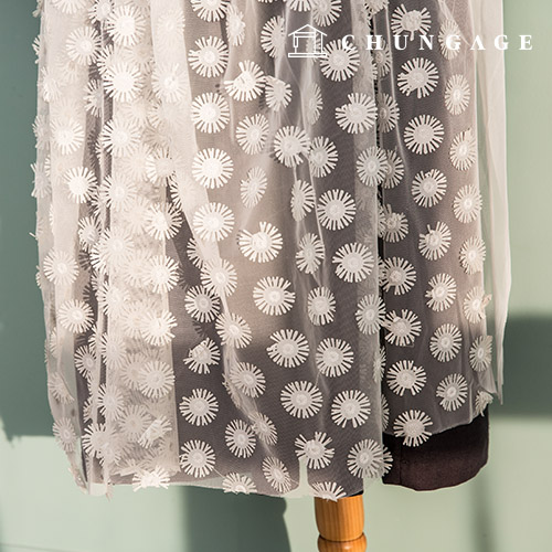 Mesh three-dimensional embroidery wide fabric spangle embroidery fabric champagne