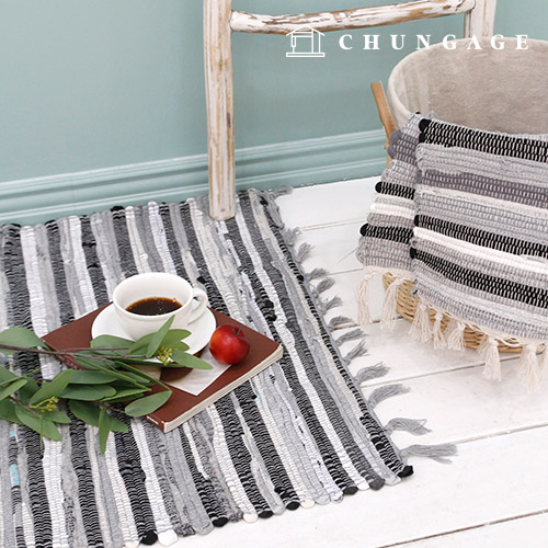Tassel Cotton Rug Release Living Room Mat Gray