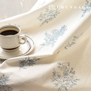 Linen Fabric Wide Cotton Linen Fabric Arion Flower Pattern Flower Vintage