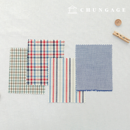 Cotton Check Fabric 20 Count Ombre Dyed Terminated Plain Stripe Gingham Check Fabric Marine 4 Types