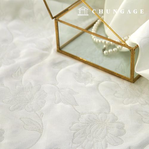 Jacquard Fabric Flower Patterns Fabric Blanc