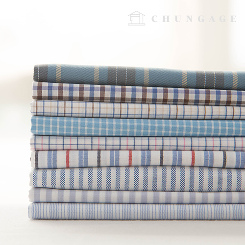 Cotton Check Fabric Ombre Dyed Check Stripe Blue Picnic 9 Types